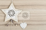 Fotografie valentines hearts on a wooden background  valentines day day valentine postcard with space for text