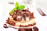 pancakes with sweet cream cheese and chocolate curls