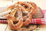 soft pretzels topped with caraway seeds and salt