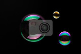 soap bubbles on a black backgound for overlay use