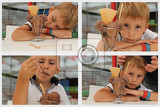 Boy, child, kid is enjoying a chocolate ice cream, with his head and arms put, lying on the dining table, collage, set