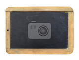 Fotografie vintage slate chalk board isolated on white