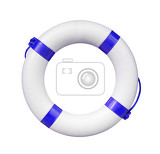 red and white life buoy isolated on white
