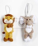 Fotografie cute plush animals  elephant and lion