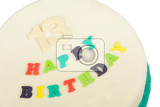 Fotografie birthday cake with text happy birthday for thirteen anniversary isolated on white