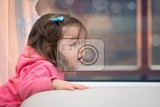 Fotografie little girl with long hair at the window