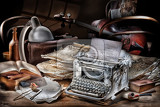 Photo still life in retro style with typing machine cello and lamp