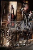 Photo still life with old musical instrument spinning wheel and furniture