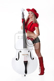 young woman with white contrabass