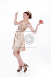 young beautiful emotional woman with a gift on isolated studio background