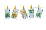 banknotes hanging on the clothesline