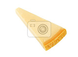 wedge of parmesan cheese on white background