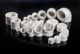 Fotografia polypropylene fittings on a black studio background