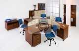 Photo set of office furniture on an isolated studio background