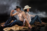 young beautiful woman and man dressed in western style