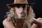young blonde woman in a western style