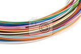 colored tight buffered optical fibers on white background