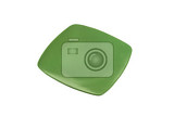 Photo daily use square green dinner plate