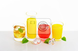 Fotografie fresh fruit juices and iced drinks on white background