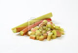 fresh rhubarb stalks some cut into small pieces