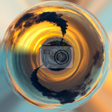 Fotografia little planet sunrise silhouette of city landscape with smoking factory ecology pollution concept ecology concept tiny pollution planet save world nature project