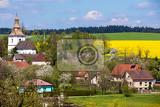 Fotografie small church in village in czech republic priseka beautiful view to spring vysocina countryside rural scene