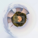 planet of cooling towers at the nuclear power plant in dukovany czech republic little planet ecology concept tiny planet projection