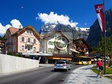 Fotografie City, street, hotel, transportation, mountains .Grindelwald - Switzerland.