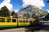 Photo Mountains, transport, train, railway, station Alps. Grindelwald - Switzerland.