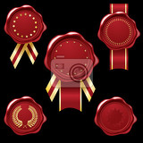 wax seal collection with golg ribbons and embellishments