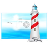 lighthouse tower landscape panorama vector illustration