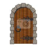 Photo old wooden vintage doors isolated vector illustration