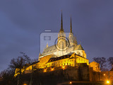 The cathedral of st. Peter and Paul in Brno in the evening illuminated.