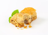 baklava  phyllo pastry filled with nuts and spices and drenched in syrup