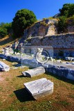 City. Building, history, rock excavation. Greece - Filippoi.