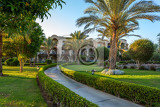 Fotografie pathway in hurgarda resort with palm trees and landscaped hedges egypt holiday vacation concept