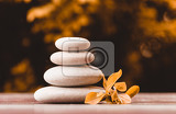 balancing zen pebble stones outdoor spa wellness tranquil scene soul equanimity concept mental calmness abstract retro colors