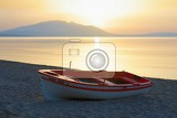 Greece. Sea, mountains, beach, sun, water, sky, morning.