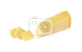 parmesan cheese wedge and slices on white background