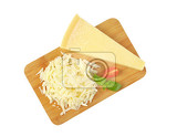 grated parmesan cheese on wooden cutting board