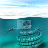 Fotografie illustration of underwater scene with divers and submerged spacecraft