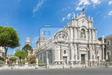 catania sicily italy  jul 25  2016 catania town main square center with the cathedral of santa agatha and a sightseeingbus in sicily italy