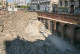 catania italy  jul 25 2016 remains of the roman amphitheater at the piazza stesicoro stesicoro square cataniaitaly