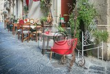 Fotografia outdoor restaurant in old european town siracusa sicily