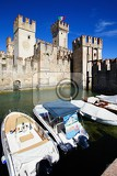 The town, castle, fort, ship, transport, Lake, Italy.
