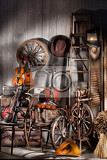 Photo still life with old musical instruments chairs and spinning wheel