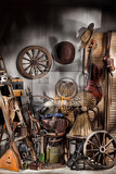 Photo still ife with old musical instruments different cowboy accessories weapon and army equipment