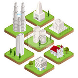 Photo big collection of distinct  isometric city buildings