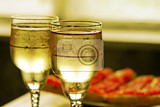 champagne glasses and toasts with red caviar
