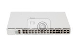 fiber optic gigabit ethernet switch with sfp module slot and utp category 5 connectors rj45 isolated on white background